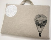 Laptop Bag - Hot Air Balloon and a Bit of Lace on Linen- Custom Sizing Available - Handmade