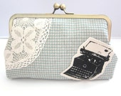 Clutch Purse Typewriter and Lace on Aqua Houndstooth