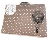Laptop Bag Hot Air Balloon and Lace on Brown Polka Dot Linen