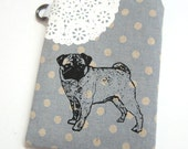 iPhone Case Pug and Lace on Blue Polka Dot Linen