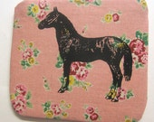 Mini Coin Purse Horse on Pink Floral Print Linen
