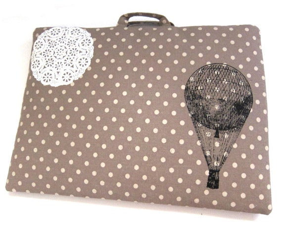 Small Laptop Case Hot Air Balloon and Lace on Brown Polka Dot Linen
