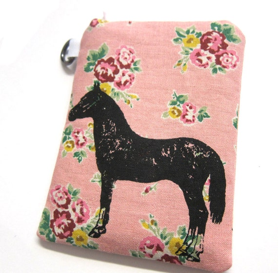 iPhone or Camera Case Padded Horse on Pink Floral Linen