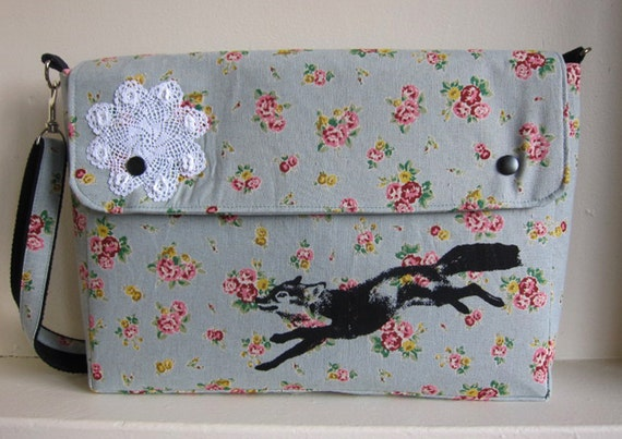 Messenger Bag Fox and Lace on Blue Floral Linen