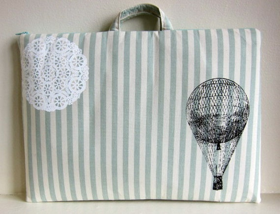 Laptop Bag - Hot Air Balloon and Lace on Mint Stripes - Fits a 13 inch MacBook