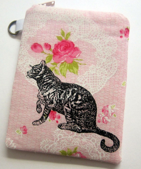 iPhone Case Cat on Pink Floral and Lace Print Linen