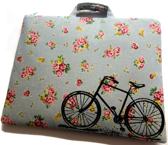 iPad Case Vintage Bicycle Bike on Blue Floral Linen