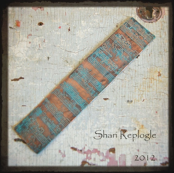 Textured Etched Copper Sheet Finding Wonderful for Metal Jewelry and Mixed Media Art