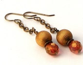 Vintage Textured Brass and Czech Luster Finish Firepolish Earrings