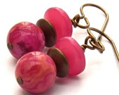 Raspberry Crazy Lace Agate Brass and Vintage Lucite Earrings