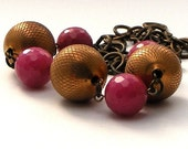 Vintage Textured Brass and Fuchsia Jade Necklace