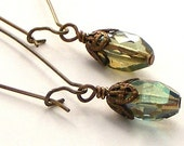 Faceted Czech Glass and Brass Filigree Bead Cap Long Kidney Wire Earrings
