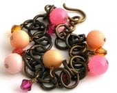 Vintage Lucite and Crystal Bracelet Pink and Peach Charm Bracelet