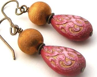 Vintage Pink Teardrop and Vintage Textured Brass Earrings