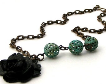 Vintage Flower And Verdigris Brass Filigree Asymmetrical Necklace