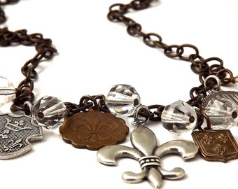 Mixed Metal Fleur de Lis  Vintage Patina Brass and Antique Silver Charm Necklace
