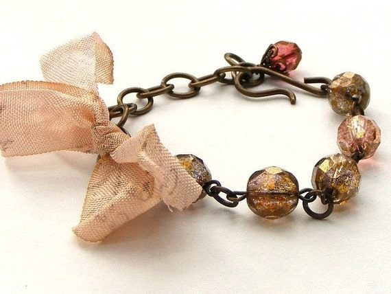 Brass Czech Glass and French Script Ribbon Bracelet Pink and Brown