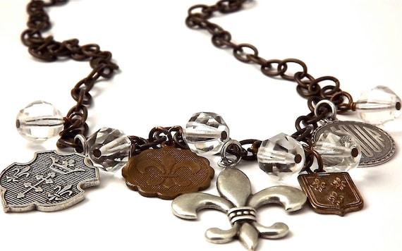 Mixed Metal Fleur de Lis  Vintage Patina Brass and Antique Silver Charm Necklace