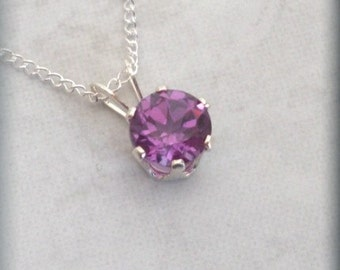 February Birthstone Necklace Sterling Silver Pendant Amethyst Jewelry (BP918)