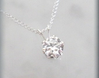 April Birthstone Necklace Cubic Zirconia Pendant CZ Jewelry Sterling Silver (SP920)