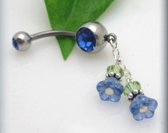Blue Flower and Crystal Belly Button Ring Body Jewelry Piercing Navel (BR159)