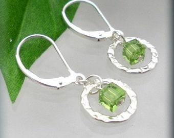 Peridot Crystal Cube Earrings Sterling Silver Dangle Square Swarovski (SE894)