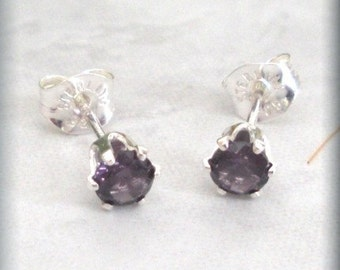 Tiny February Birthstone Earrings, Amethyst Posts, Sterling Silver Earrings, Studs, February Birthday Gift, Tiny, Small, Round (SE830)