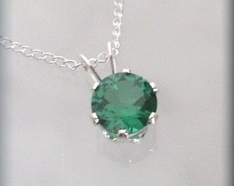 May Birthstone Necklace Sterling Silver Pendant Emerald Jewelry (SP921)