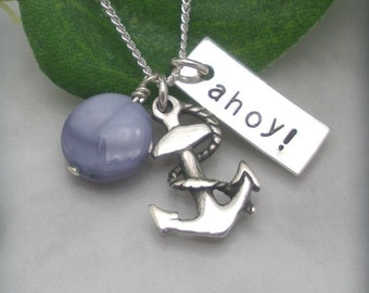 Anchor Necklace, Ocean Necklace, Beach Jewelry, Nautical Charm Necklace, Ahoy, Beach Necklace, Sterling Silver (SN595)