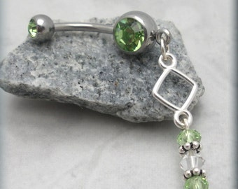 Geometric Belly Ring Navel Piercing Navel Ring Peridot Body Jewelry (BR171)