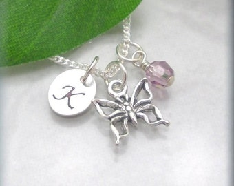 Butterfly Necklace, Handstamped Initial Charm, Crystal Birthstone Necklace, Sterling Silver, Personalized Jewelry, Charm Necklace (SN609)