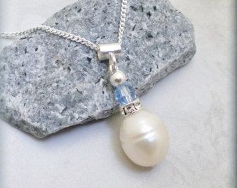 Freshwater Teardrop Pearl and Sapphire Blue Crystal Sterling Silver Necklace Bridal Jewelry (SN593)