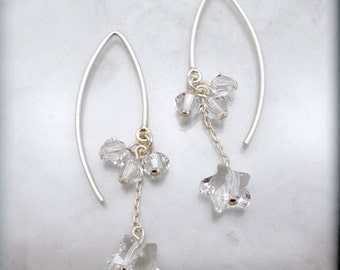 Crystal Star Earrings Swarovski Drop Sterling Silver Dangle Jewelry (SE939)