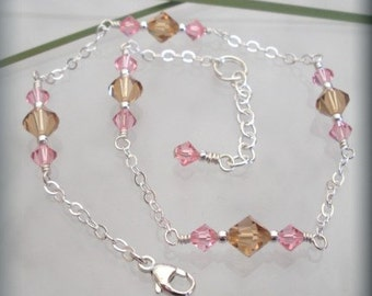 Light Rose and Light Colorado Topaz Swarovski Crystal Sterling Silver Anklet (SA531)