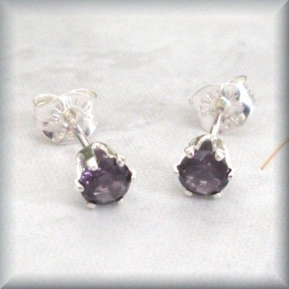 February Birthstone Amethyst Post Sterling Silver Earrings Stud (SE830)