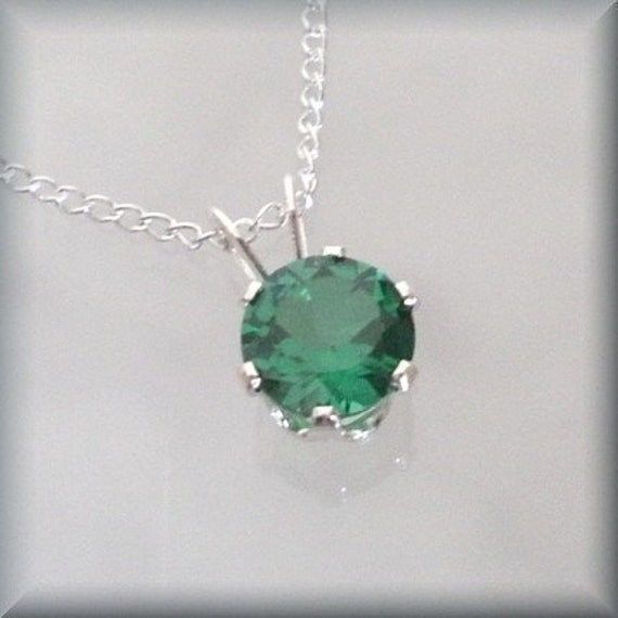 May Birthstone Necklace Sterling Silver Pendant Emerald