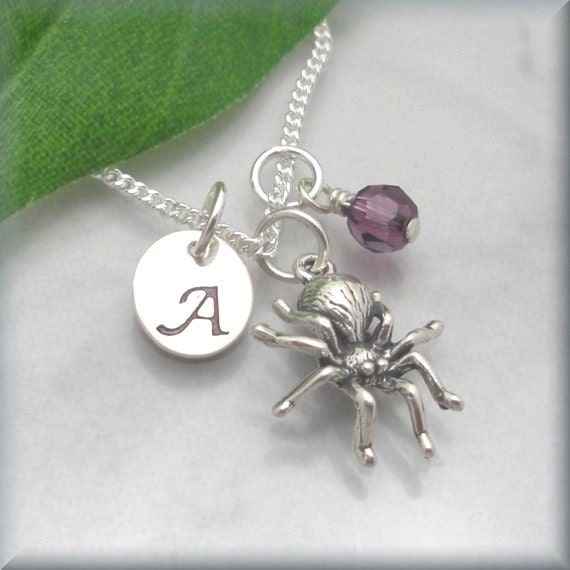 Spider Initial Birthstone Necklace Sterling Silver Personalized Charm Jewelry Hand Stamped (SN604,605)