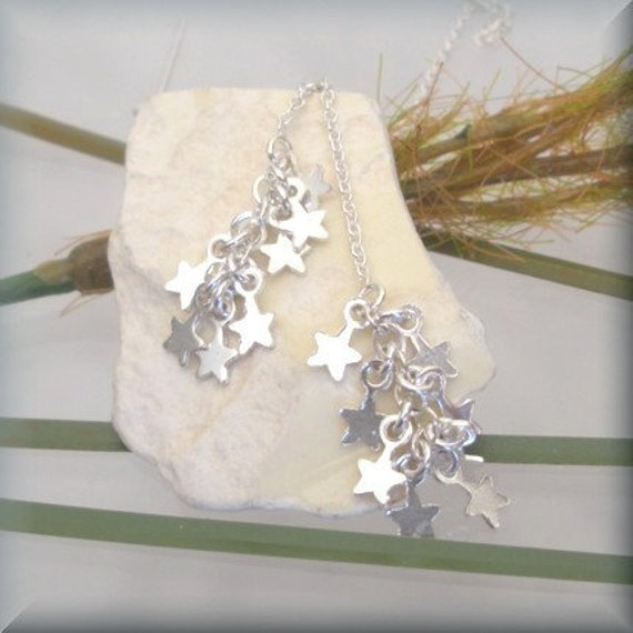 Dancing Stars Sterling Silver Ear Threads - Tiny sterling silver star charms and threader earrings (SE862)