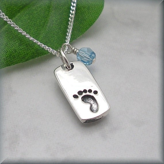 Mothers Necklace, Mothers Day Birthstone Jewelry, Gift for New Mother, Mommy Jewelry, Sterling Silver, Remembrance Baby Footprint (SN659)