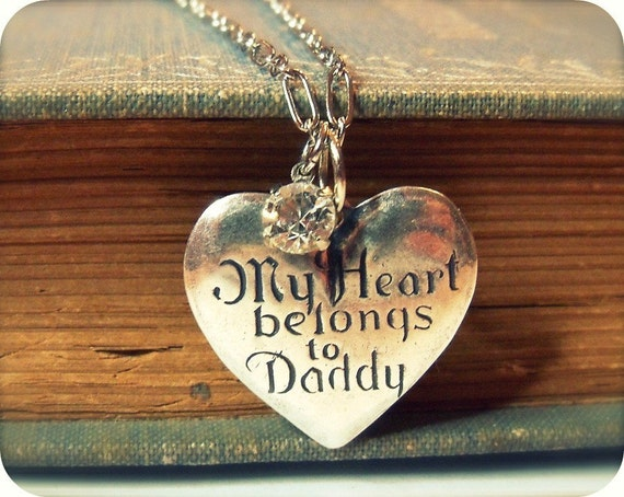 Vintage Tooled Sterling Plated Charm and Rhinestone Necklace - Antiqued Silver Pendant Daddy's Girl