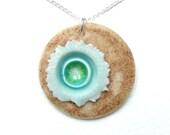 Porcelain Pendant - Beach Bloom - Sterling Silver Chain