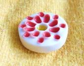 SALE - Porcelain Dot Pin - Red and White Matt - Bloom