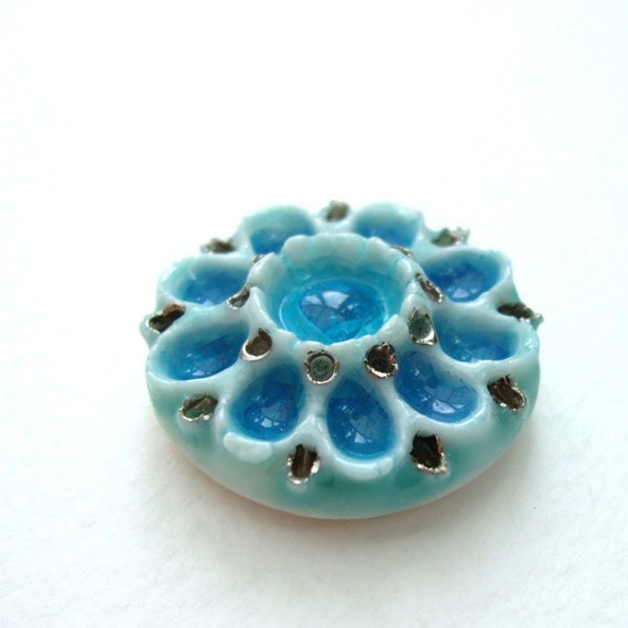 CLEARANCE - Porcelain Flower Flatback - Azure Blue