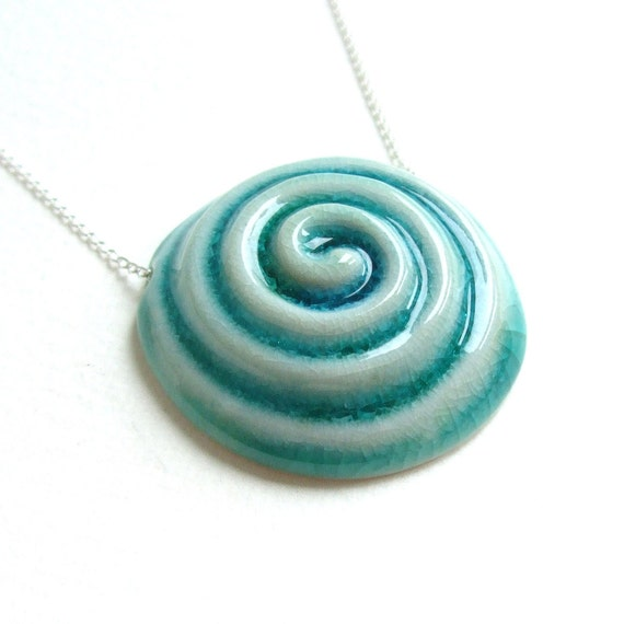 RESERVED - Porcelain Pendant - Electric Blue Spiral - Sterling Silver Chain