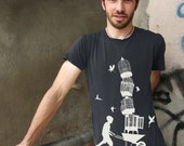 "BIRDCAGE ""Lifted"" on men's / unisex organic cotton short sleeve shirt - earth coal"