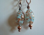 Sommerso beaded earrings, Copper chain