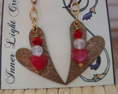 Red jade hearts, round moonstone and metal etched heart earrings