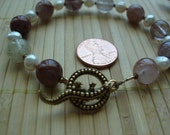 Rutilated quartz and freshwater pearl bracelet