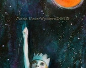 Fly Me To The Moon- Original mixed media painting by Maria Pace-Wynters