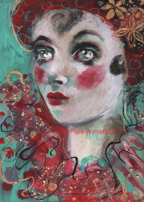 SALE The Scarlet Harlequin- Original painting by Maria Pace-Wynters